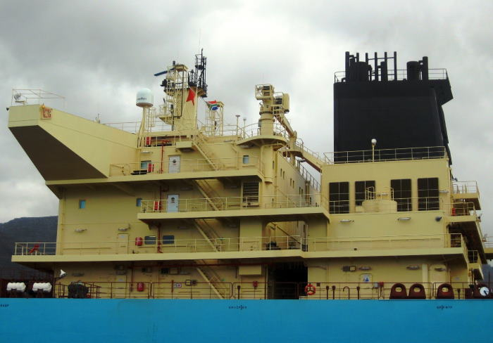The accommodation block of the tanker Al Khtam. Picture by 'Dockrat'