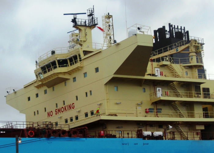 Showing the front of the accommodation and bridge for the tanker Al Khtam. Picture by 'Dockrat'