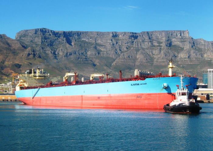 the tanker with the majestic Table Mountain overlooking the harbour. Picture by 'Dockrat'