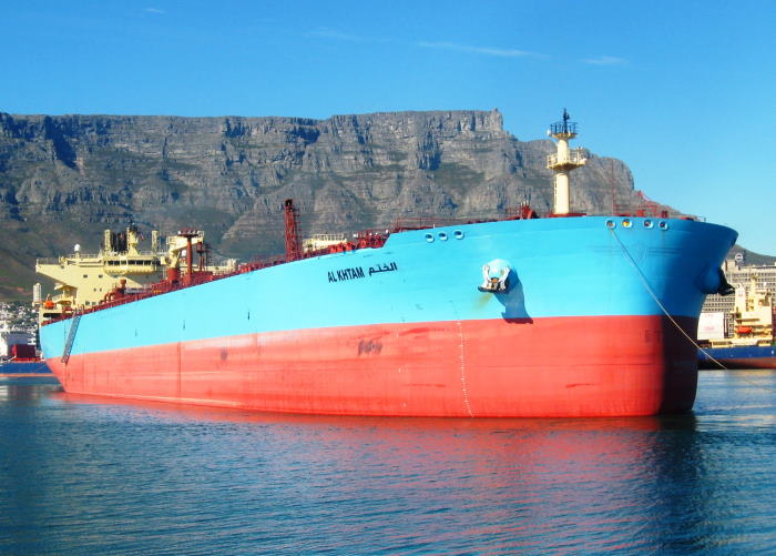 The LR2 Aframax tanker Al Khtam which made her maiden call at Cape Town on 1 October 2021. Picture by 'Dockrat'