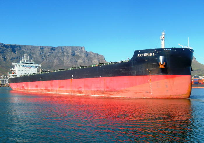 The Kamsarmax bulk carrier Artemia 1 sailing from Cape Town after completing her repairs. Picture by 'Dockrat'