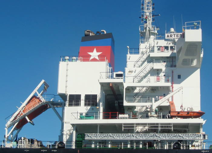 The accommodation section of the bulk carrier Artemis 1. Picture by 'Dockrat'
