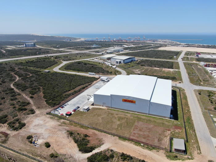 The new DHL warehouse within the CDC in the Eastern Cape, with the port of Ngqura lying beyond