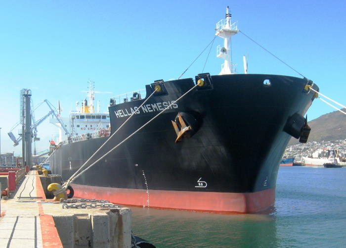 The handsome-looking Greek tanker Hellas Nemesis on her tanker ebrth in Cape Town. Picture by 'Dockrat'
