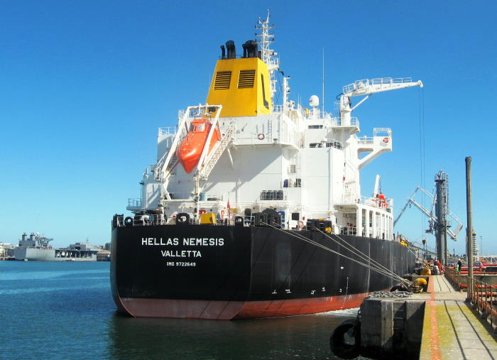 Our final view of the tanker Hellas Nemesis in Cape Town harbour. Picture by 'Dockrat'