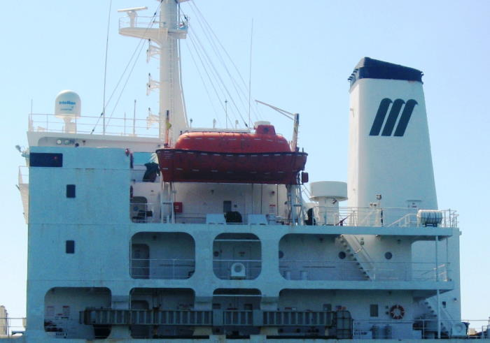 This is the accommodation and bridge block of the reefer ship Ice Glacier. Picture by 'Dockrat'