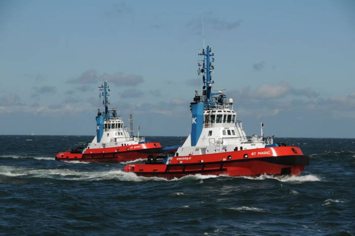 Kotug tugs SD Spirit (left) and SD Magic, which have been deployed to Port Gentil in Gabon. Pictures Kotug