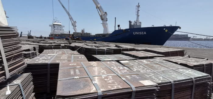 Sheets of copper cathodes for loading into the general cargo ship Unisea at the Port of Walvis Bay