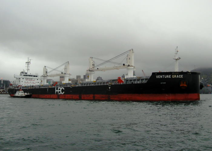 On a dull and overcast day, the prize-winning bulk carrier Venture Grace prepares for the open sea, Next port Durban, after discharging a cargo of fertiliser here at Cape Town. Picture by 'Dockrat'