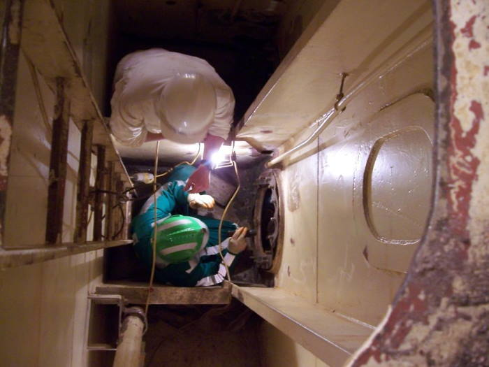 Crew member entering an enclosed space. Picture: courtesy Blogspot