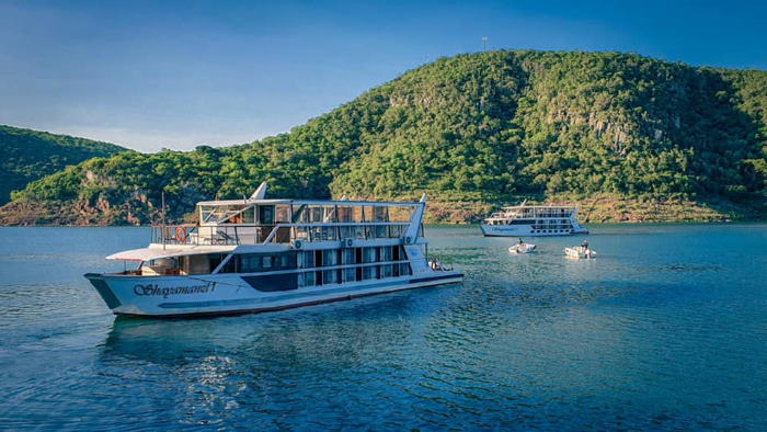 Two of the Shayamanzi Houseboats based on the Jozini Dam in northern Zululand